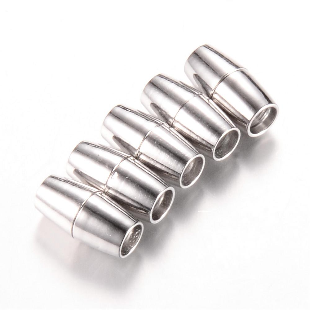 Platinum Barrel Magnetic Clasps, Barrel 6mm glue in clasp - etui coterie