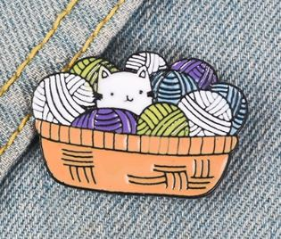 Cat in a Wool Basket Pin Badge