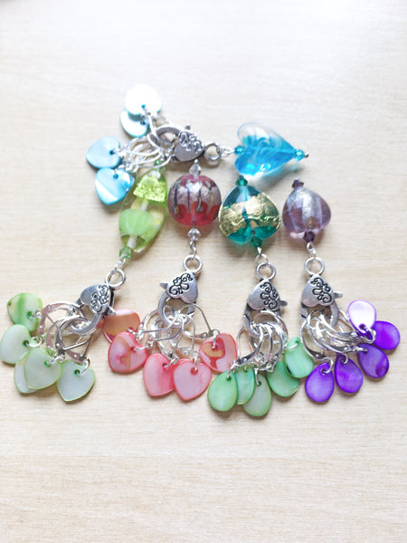 OOAK Foil Lampwork and Mother of Pearl Shell Stitch Markers - etui coterie