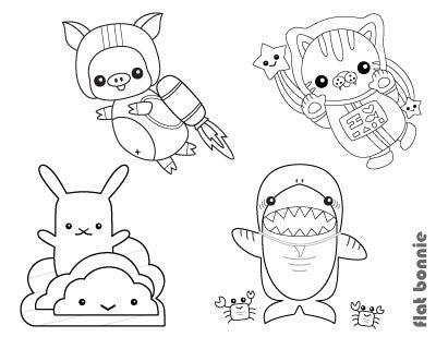Free Coloring Pages - Kawaii Flat Bonnie Characters