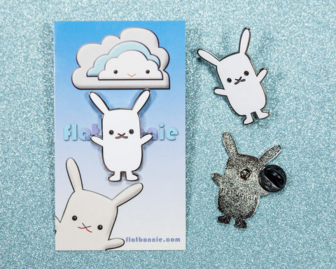 Flat Bonnie bunny enamel pin - Cute rabbit jewelry jacket pin - Cloisonné lapel pin - Enamel Lapel Pin - Flat Bonnie - 1