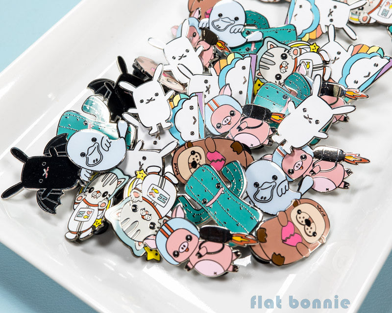 Kawaii enamel pins - Cute animal hard enamel pin - Cloisonne lapel pin - Enamel Lapel Pin - Flat Bonnie - 1
