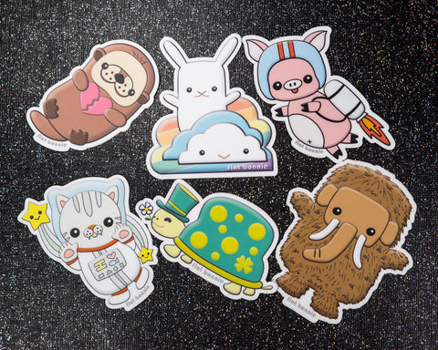 Kawaii animal stickers #2 - 6 Flat Bonnie characters - Weatherproof vinyl decals -1