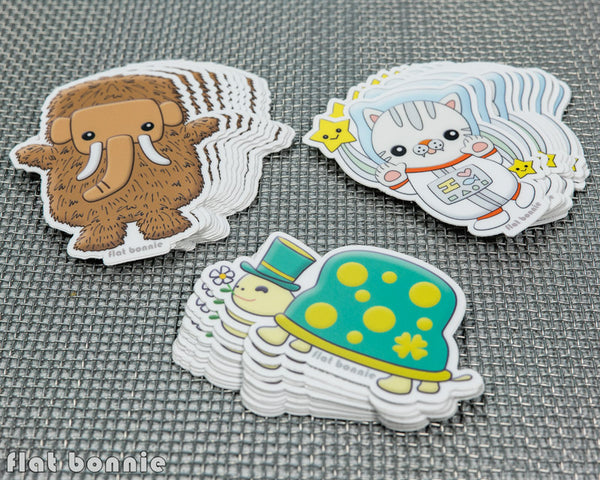 Kawaii animal stickers #2 - 6 Flat Bonnie characters - Weatherproof vinyl decals -4