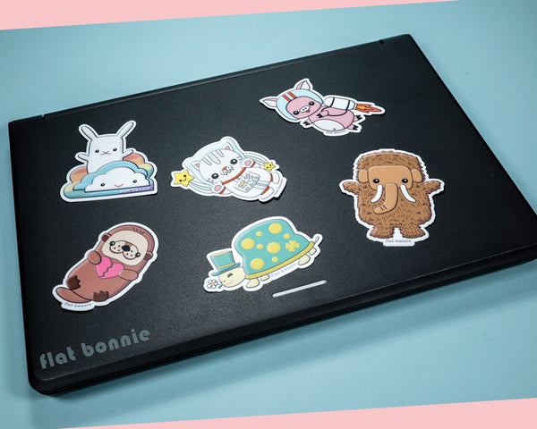 Kawaii animal stickers #2 - 6 Flat Bonnie characters - Weatherproof vinyl decals -5