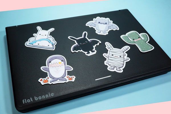 Kawaii animal stickers - 6 Flat Bonnie characters - Bat Bunny Shark Cactus Dragon Mummy -3