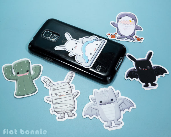 Kawaii animal stickers - 6 Flat Bonnie characters - Bat Bunny Shark Cactus Dragon Mummy -4