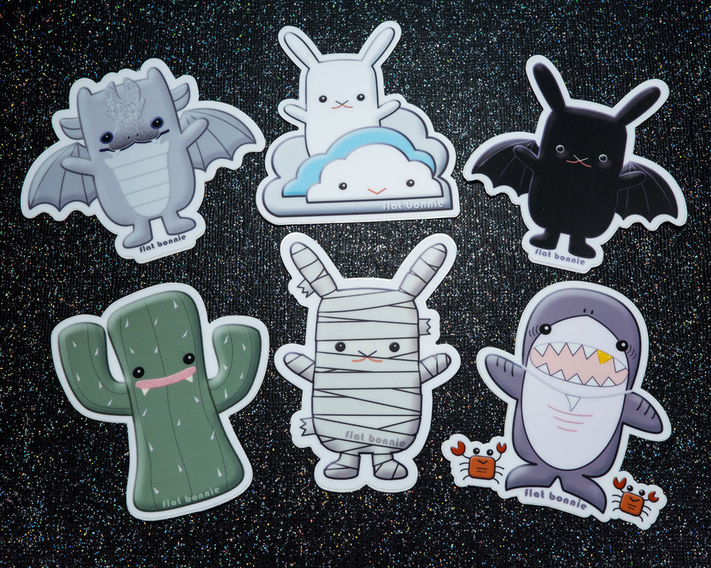 Kawaii animal stickers - 6 Flat Bonnie characters - Bat Bunny Shark Cactus Dragon Mummy -1