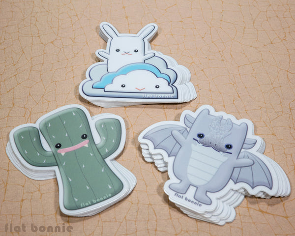 Kawaii animal stickers - 6 Flat Bonnie characters - Bat Bunny Shark Cactus Dragon Mummy -5