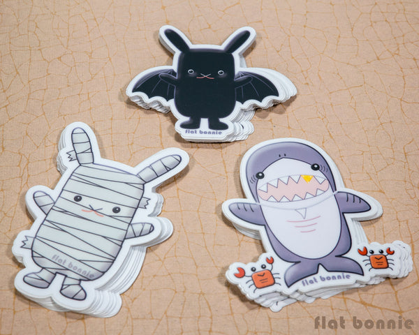 Kawaii animal stickers - 6 Flat Bonnie characters - Bat Bunny Shark Cactus Dragon Mummy -6