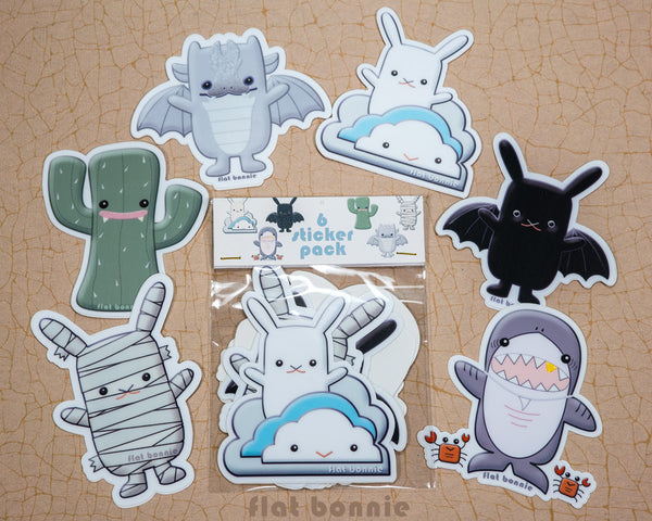 Kawaii animal stickers - 6 Flat Bonnie characters - Bat Bunny Shark Cactus Dragon Mummy -2