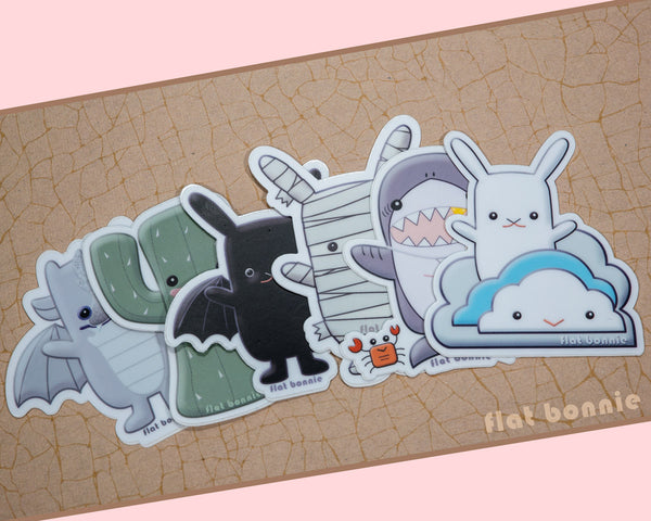 Kawaii animal stickers - 6 Flat Bonnie characters - Bat Bunny Shark Cactus Dragon Mummy -7