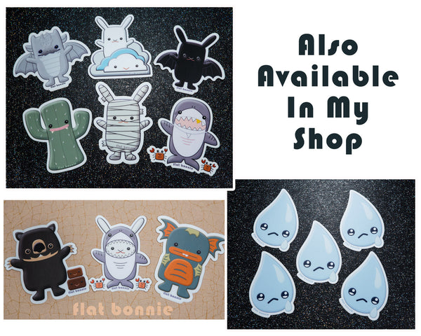Kawaii animal stickers #2 - 6 Flat Bonnie characters - Weatherproof vinyl decals -6