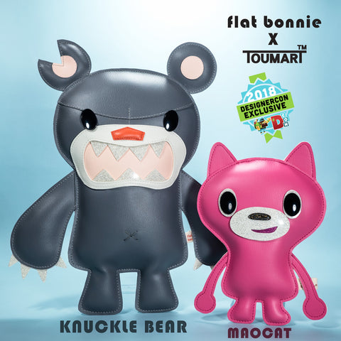 Flat Bonnie x Touma Collaboration - DesignerCon 2018 Exclusive - Knuckle Bear and Mao Cat plush 1