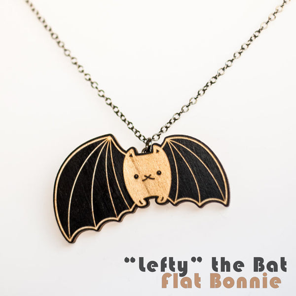 Bunny x Bat and Lefty the Bat wood necklace - Jewelry - Flat Bonnie - 2