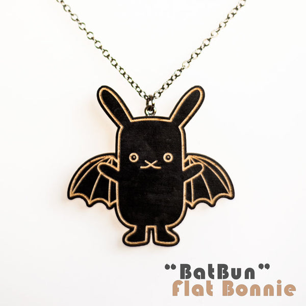 Bunny x Bat and Lefty the Bat wood necklace - Jewelry - Flat Bonnie - 3