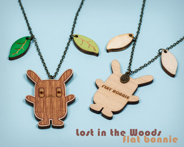 Bunny necklace - Lost in the Woods - cute wood charm jewelry - Jewelry - Flat Bonnie - 2