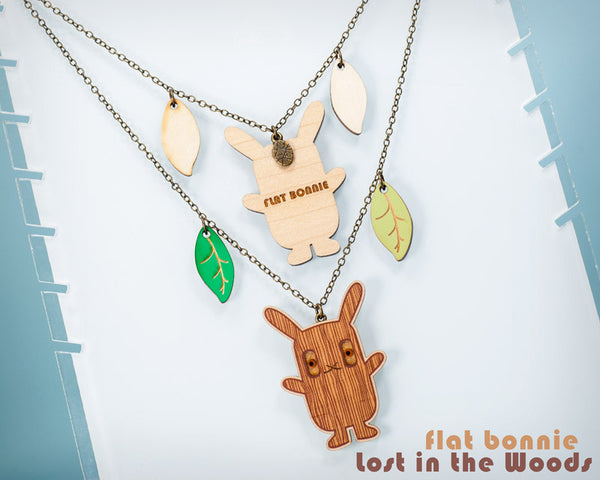 Bunny necklace - Lost in the Woods - cute wood charm jewelry - Jewelry - Flat Bonnie - 1