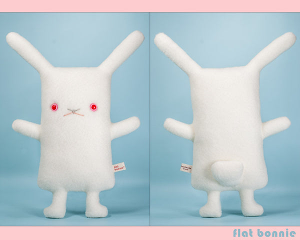White Rabbit plush - Handmade stuffed animal toy - REW - Red Eye White - Plush Stuffed Animal - Flat Bonnie - 2