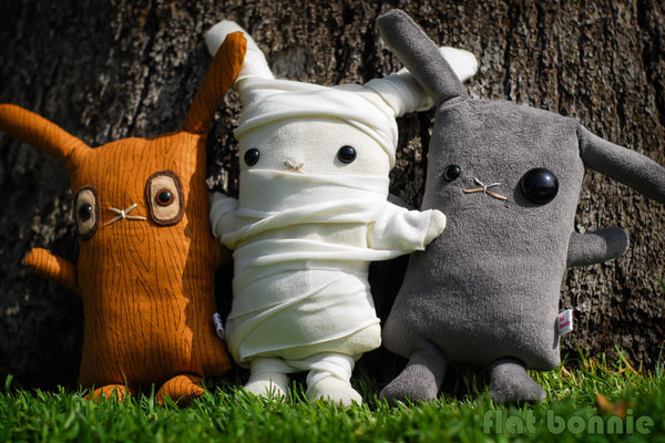 "Bunny stuffed animal - ""Lost In The Woods"" - Limited Edition plush - Plush Stuffed Animal - Flat Bonnie - 5"