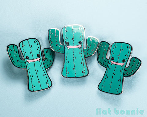 Kawaii Cactus enamel pin - Cute hard enamel pin - Cloisonné lapel pin - Enamel Lapel Pin - Flat Bonnie - 1