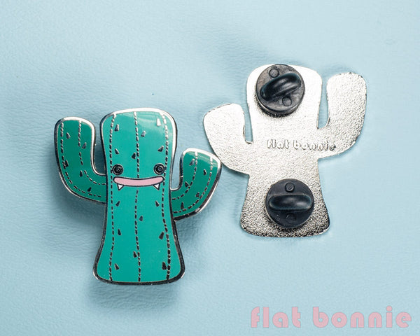 Kawaii Cactus enamel pin - Cute hard enamel pin - Cloisonné lapel pin - Enamel Lapel Pin - Flat Bonnie - 3
