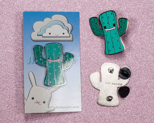 Kawaii Cactus enamel pin - Cute hard enamel pin - Cloisonné lapel pin - Enamel Lapel Pin - Flat Bonnie - 2