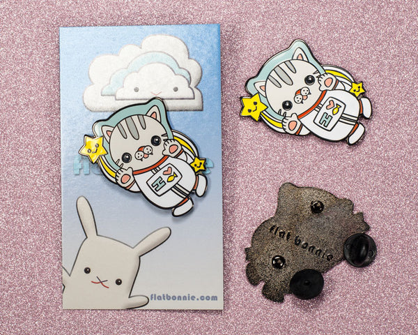 Polydactyl Space Cat enamel pin - Kawaii enamel pins - Cloisonné lapel pin - Enamel Lapel Pin - Flat Bonnie - 2