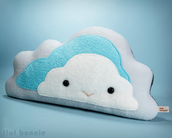Cloud reversible plush pillow - Handmade happy / stormy cloud - Plush Non Animal - Flat Bonnie - 2