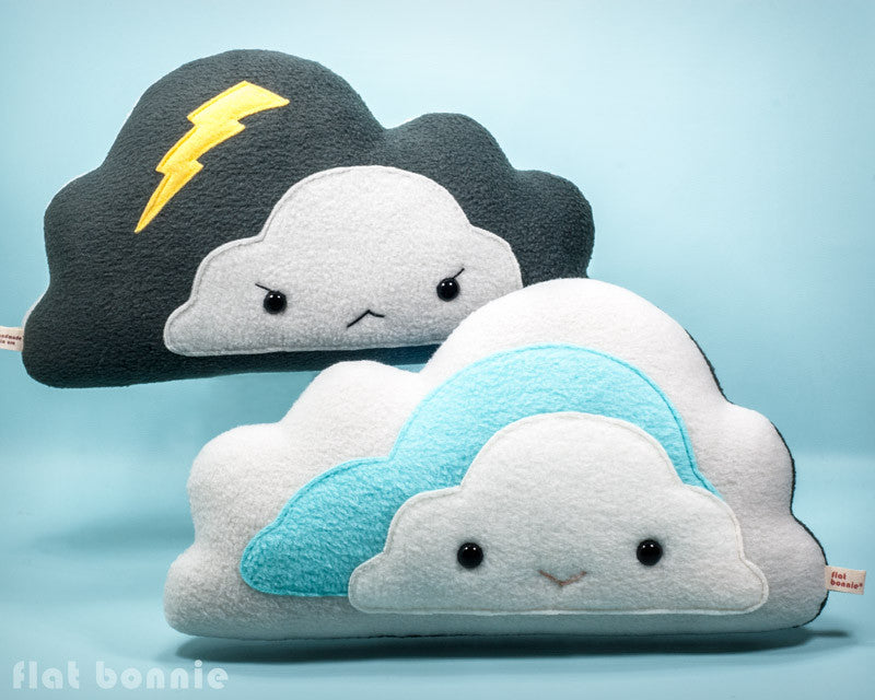 Cloud reversible plush pillow - Handmade happy / stormy cloud - Plush Non Animal - Flat Bonnie - 1