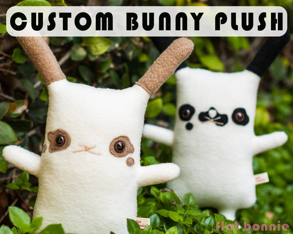 Custom Bunny stuffed animal - Plush clone of your bunny rabbit - Plush Stuffed Animal - Flat Bonnie - 1