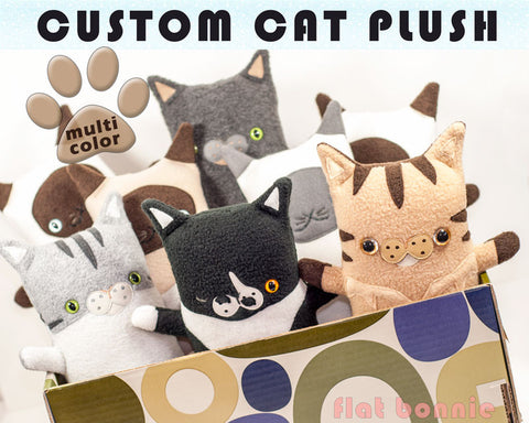 Custom Cat stuffed animal - Plush clone of your kitty - Multi-Color - Plush Stuffed Animal - Flat Bonnie - 1