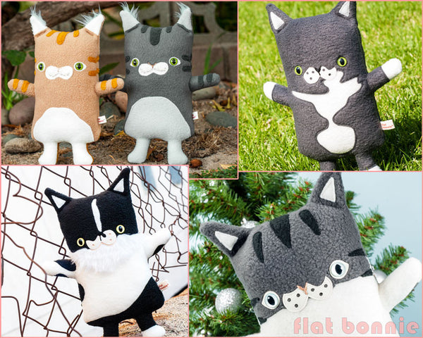 Custom Cat stuffed animal - Plush clone of your kitty - Multi-Color - Plush Stuffed Animal - Flat Bonnie - 3