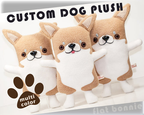 Custom Dog stuffed animal - Plush clone of your puppy - Multi-Color - Plush Stuffed Animal - Flat Bonnie - 1
