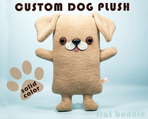 Custom Dog stuffed animal - Plush clone of your puppy - Single-Color - Plush Stuffed Animal - Flat Bonnie - 1