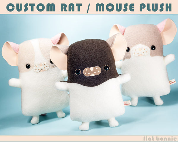 Custom Rat / Mouse stuffed animal - Plush clone of your rat / mouse - Plush Stuffed Animal - Flat Bonnie - 1