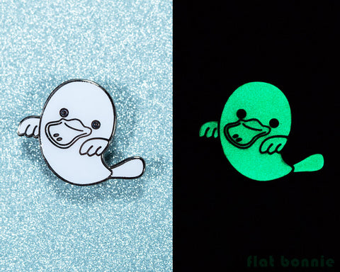 Platypus Ghost enamel pin - Glow in the Dark - GID enamel pin - Cloisonné lapel pin - Enamel Lapel Pin - Flat Bonnie - 1