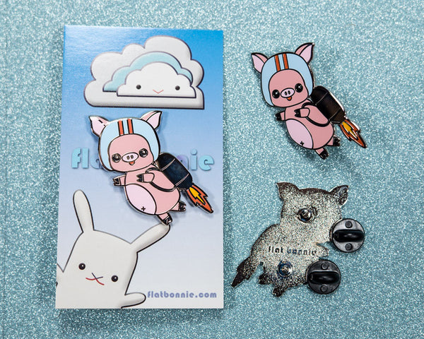 Jet Pig enamel pin - Cute piggy jetpack enamel jacket pin - Cloisonné lapel pin - Enamel Lapel Pin - Flat Bonnie - 2
