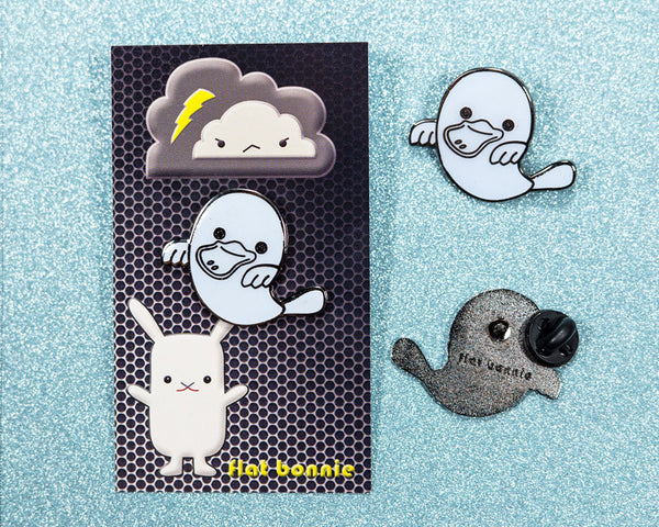 Platypus Ghost enamel pin - Glow in the Dark - GID enamel pin - Cloisonné lapel pin - Enamel Lapel Pin - Flat Bonnie - 2