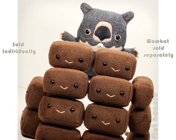 Wombat Poop plush - Square Wombat poo plushie - Plush Stuffed Animal Poop - Flat Bonnie - 1