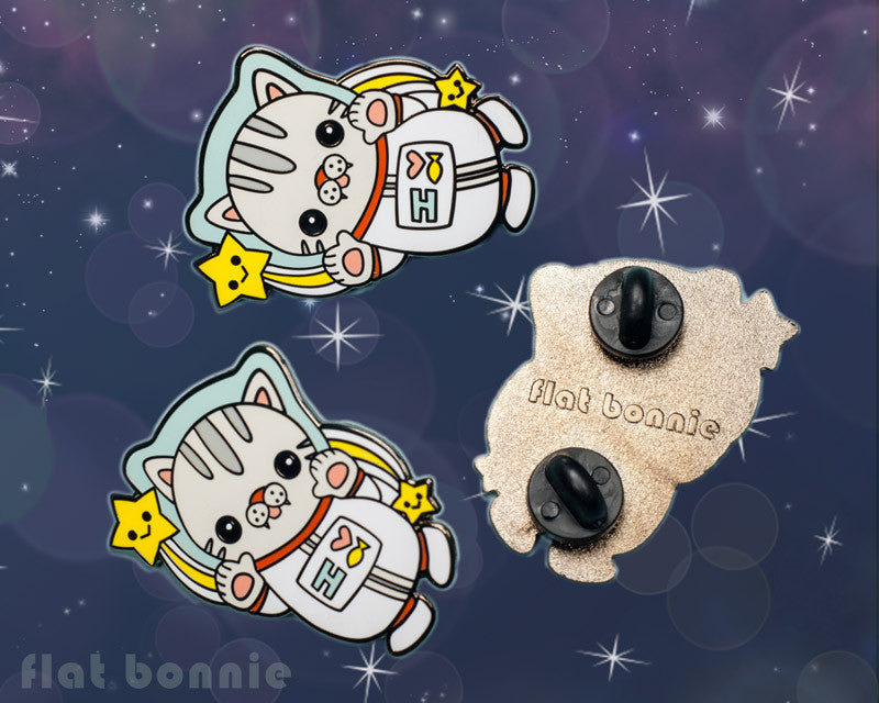 Polydactyl Space Cat enamel pin - Kawaii enamel pins - Cloisonné lapel pin - Enamel Lapel Pin - Flat Bonnie - 1