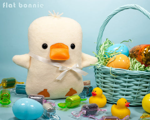 Baby Easter Duck stuffed animal - Handmade Easter basket plush gift - Plush Stuffed Animal - Flat Bonnie - 2