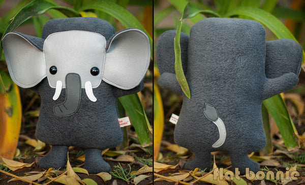Elephant plush - Handmade Elephant stuffed animal doll - Flat Ephant - Plush Stuffed Animal - Flat Bonnie - 3