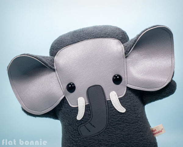 Elephant plush - Handmade Elephant stuffed animal doll - Flat Ephant - Plush Stuffed Animal - Flat Bonnie - 1