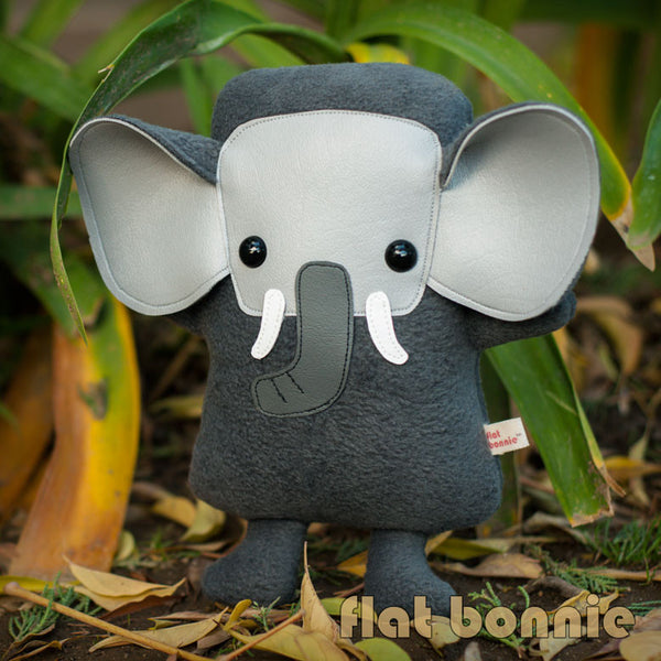 Elephant plush - Handmade Elephant stuffed animal doll - Flat Ephant - Plush Stuffed Animal - Flat Bonnie - 2