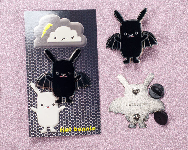 BatBun Bat x Bunny enamel pin - Kawaii enamel pins - Cloisonné lapel pin - Enamel Lapel Pin - Flat Bonnie - 2