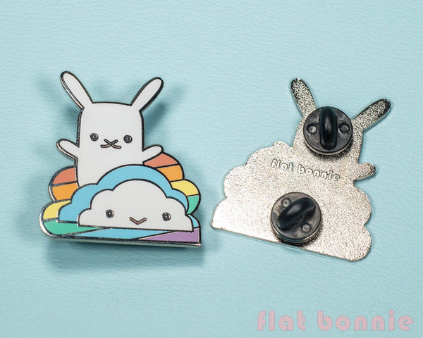 Rainbow Cloud with Bunny enamel pin - Kawaii enamel pins - Cloisonné lapel pin - Enamel Lapel Pin - Flat Bonnie - 3