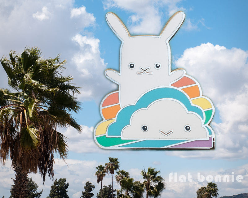 Rainbow Cloud with Bunny enamel pin - Kawaii enamel pins - Cloisonné lapel pin - Enamel Lapel Pin - Flat Bonnie - 1