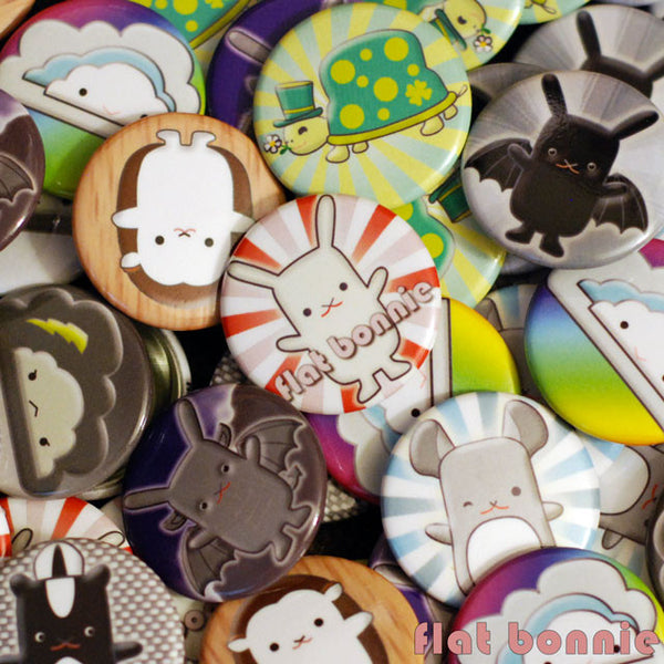 "Kawaii Buttons - 1.25"" - Over 20 designs - pins - badges - Button - Flat Bonnie - 3"
