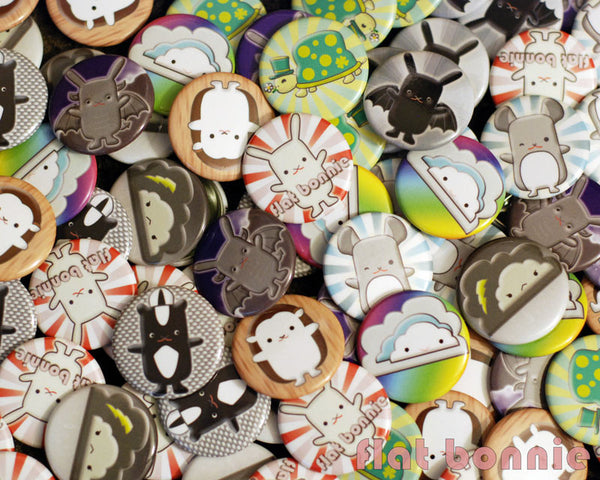 "Kawaii Buttons - 1.25"" - Over 20 designs - pins - badges - Button - Flat Bonnie - 2"